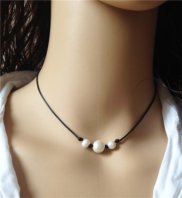 7c1b356bb4c87 US $10.59  Brown leather necklace natural pearl jewelry 10mm/8mm cultured  freshwater pearl necklace triple pearl choker jewellery wholesale-in Choker  ...