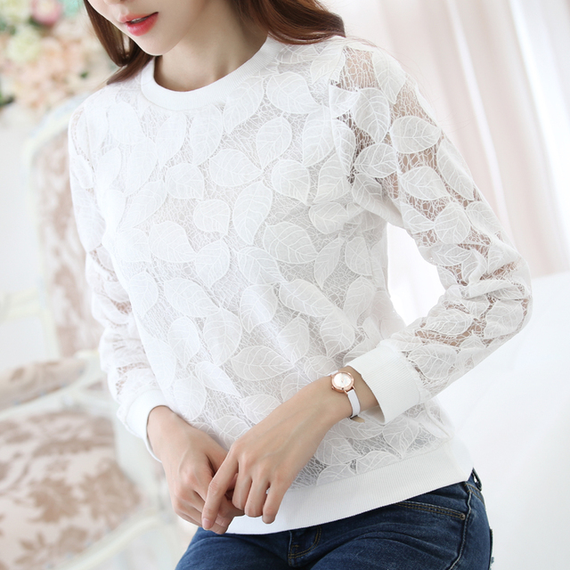New Arrivals Lace shirt Elegant Slim Hollow out women shirt plus size blusas Fashion Casual long sleeved Autumn women blouses