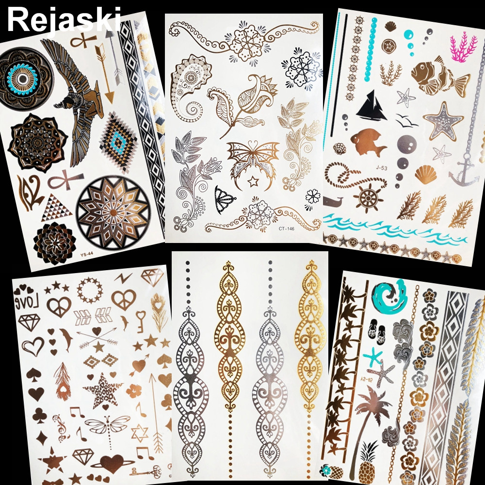 Henna Flower Gold Metallic Temporary Tattoo Women Arm Chain Flash Tattoo Stickers Leaf Girl Wrist Fake Tatoo Leg Indian Bracelet