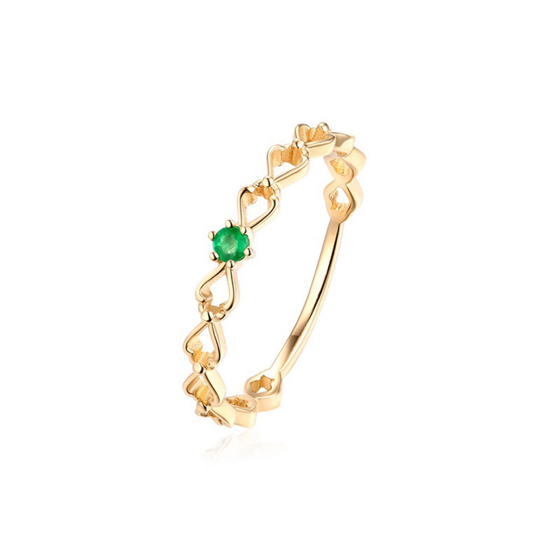 JXXGS Solid 14K Gold Emerald Ring Natural Diamond Round Shape 2*2mm Gemstone Engagement Wedding Ring For Gold Lady Women 2019
