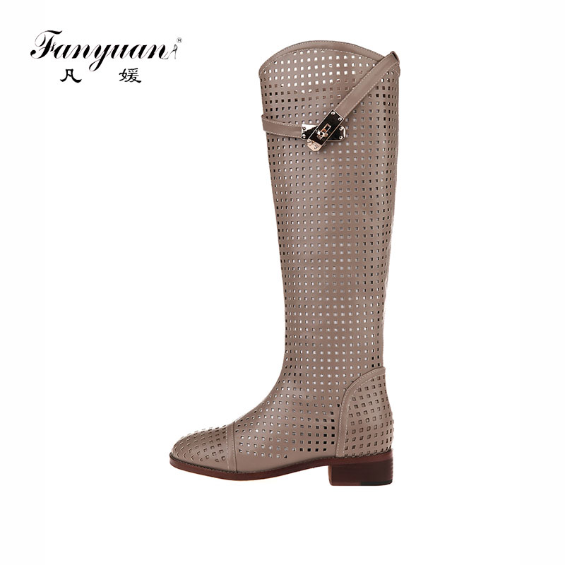 Fanyuan New Fashion round Toe Women Knee High Boots Thick Heels Sexy Cutout Boots Summer Cool Boots Women's Shoes Size 40 free shipping hot fashion strappy high heels gladiator sandal caged studded shoes fashion cutout ultra high heels cool boots