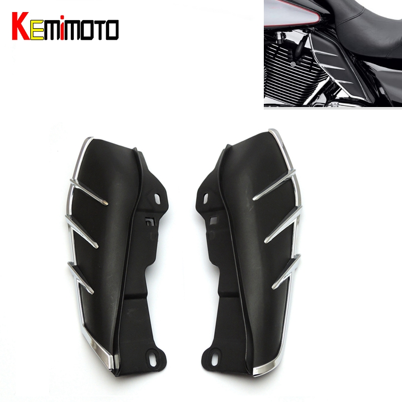 Brand New Mid-Frame Air Deflector Trims for Harley CVO Limited Road King Electra Glide Street Electra Tri Glide FLHX 2009-2016  pair air deflector windshield side wings dark tint smoke for harley electra glide road kingstreet glide motorcycle