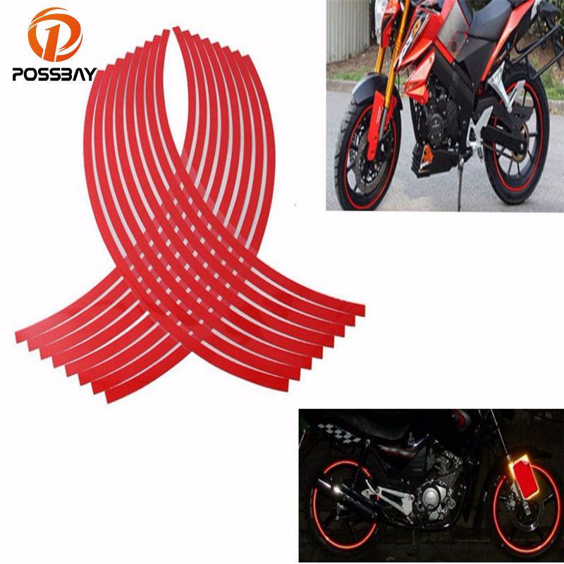 POSSBAY 17''-19'' Red Motorcycle Reflective Stickers Car Wheel Rim Wheel Hub Rim Stripe Decal Stickers For Yamaha Honda Suzuki