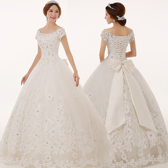 2016 New Design Royal luxury handmade sleeves slim waist wedding dress bride dress Freeshipping