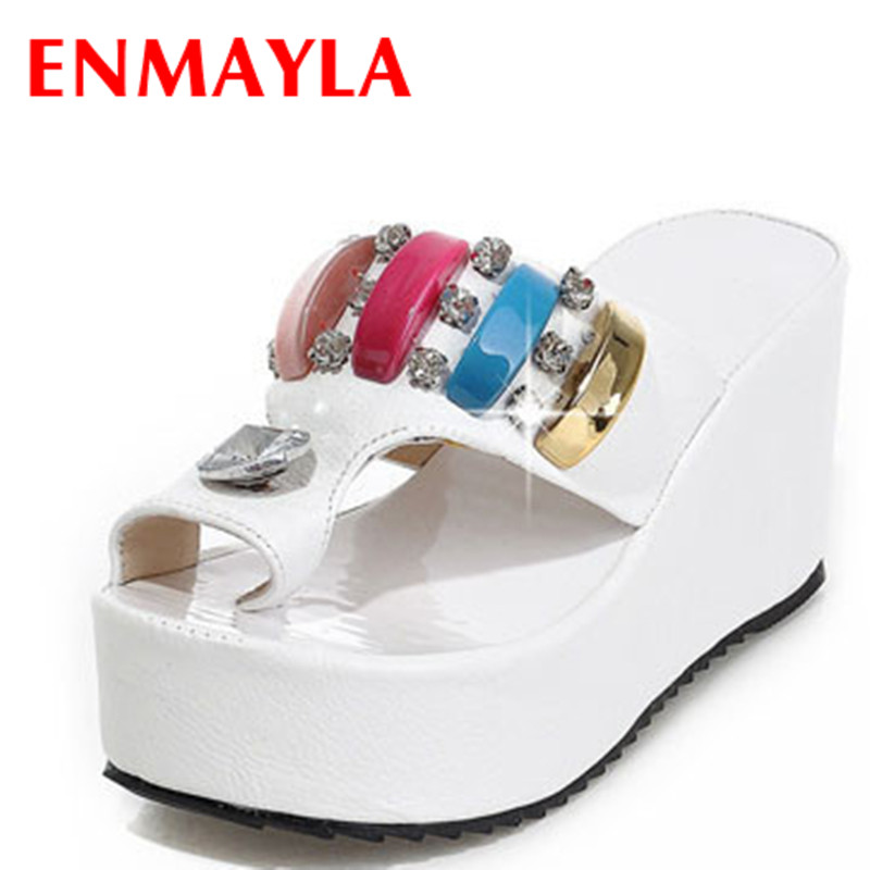 ENMAYLA Summer Wedges Heels Platform Sandals Summer Shoes Woman Sexy Flip Flops Chic Rhinestone Women Slippers Size 34 43