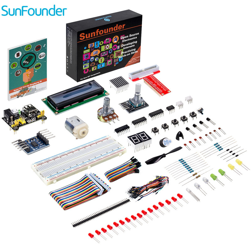 SunFounder Super Starter Kit V2.0 for Raspberry Pi 3 Model B, 2 Model B and 1 Model B+ Diy Kit tengying l298n motor driver board for raspberry pi red