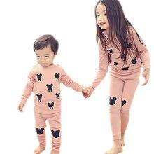 Купить с кэшбэком Spring autumn children's underwear suit pure cotton home wear boys and girls pajamas sets T-shirt+pants 2-pieces kids sleepwear