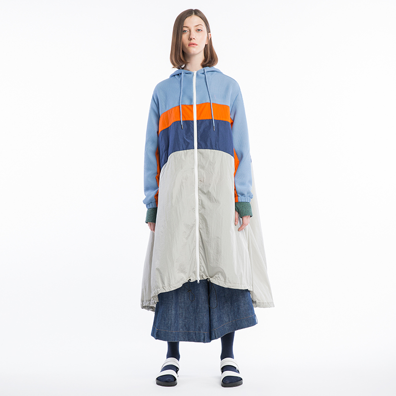 IRINAW004 original design new arrivals 2018 women colour patchwork casual a line oversized hooded long   trench   coat