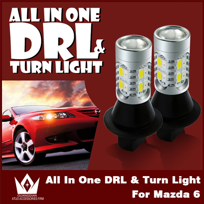 Tcart car LED light turn signal light daytime running light auto led bulb car accessories all on one WY21W T20 7440 For Mazda 6