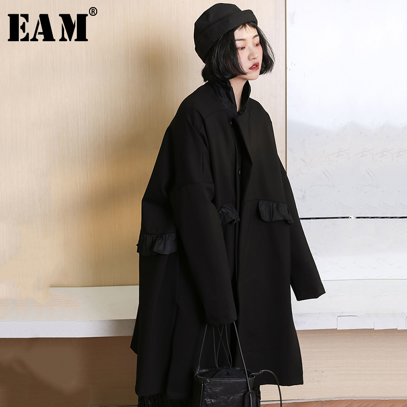 EAM 2019 New Spring Stand Collar Long Sleeve Black Brief Ruffles Stitch Loose Large Size