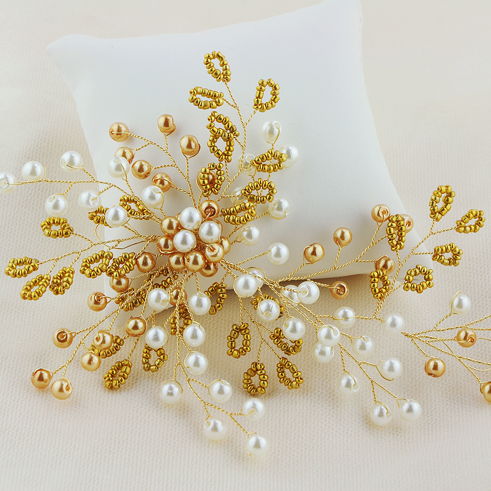 Popular Gold Crystal Wedding Bridal Comb Small White Flower Girl