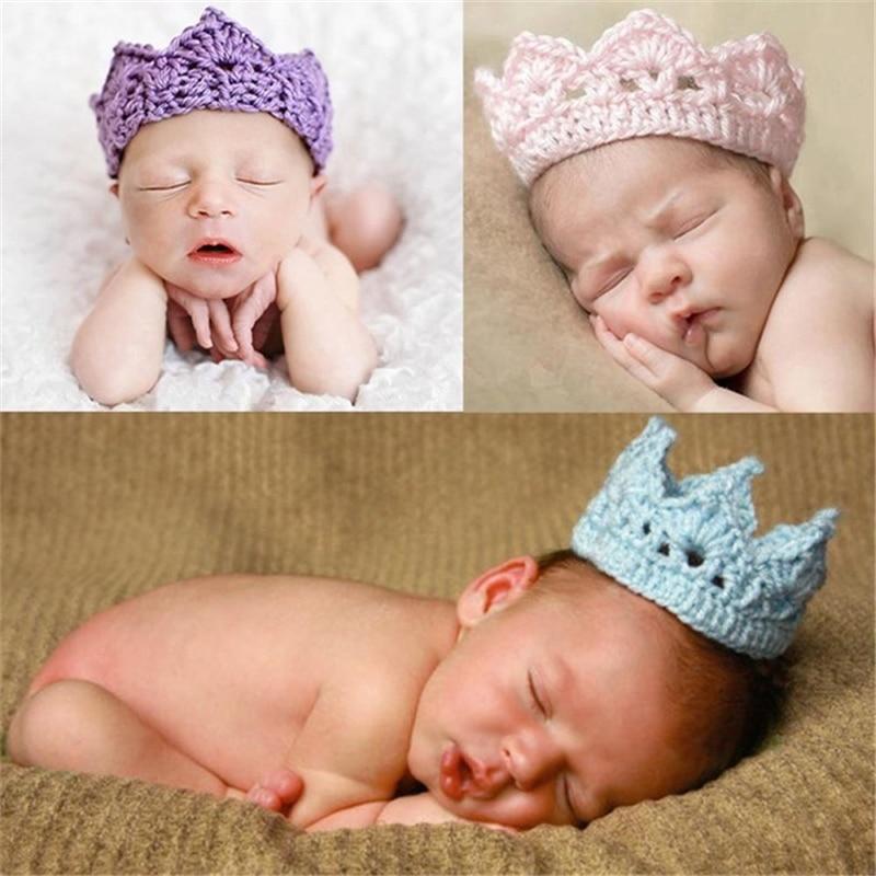 Multicolor Baby Crown Boys Girls Crochet Crown Hat Hair Accessories Children Crochet Hat Headwear Photo Props Girl Boy Crochet(China)