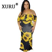 XURU summer new womens sexy print large size dress bohemian holiday beach XL L-3XL