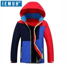 IEMUH Brand Sports Winter Children Coat Hood Ski Jacket Boys Girls Windproof Waterproof Outdoor Solfshell Camping Hiking