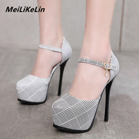 MeiLiKeLin Scottish Plaid Women High Pumps Ankle Strap Super High Heels 14 cm Stiletto Female Gray Hollow Shallow Party Shoes