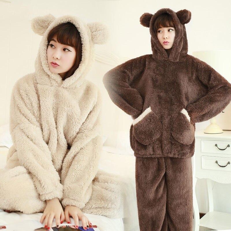 NEW Winter Sleepwear Women  m-4xl velvet Pajamas Lady Pyjama Two Piece Indoor Clothing Cartoon Home Suit For Female Plus Size