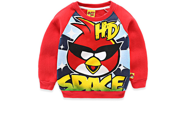 2017 Winter Spring boys clothes children clothing thick velvet blouse angry bird child shirt cotton blusas kids clothes age 2-9Y