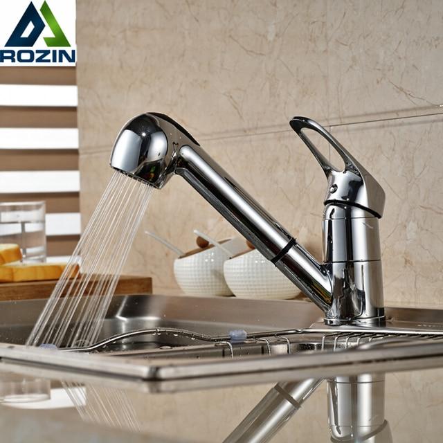 Хромированный выдвижной кухонный кран с креплением на палубу латунь кухонный смеситель стиральная краны на бортике опрыскиватель поток носик