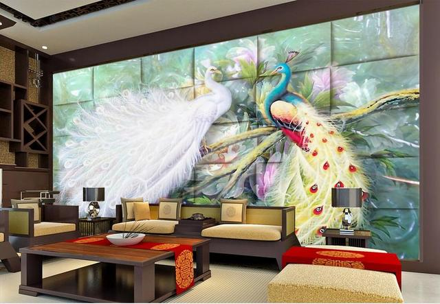 customize 3d mural wallpaper peacock mural 3d wall paper photo murals  living room 3d wallpapers for