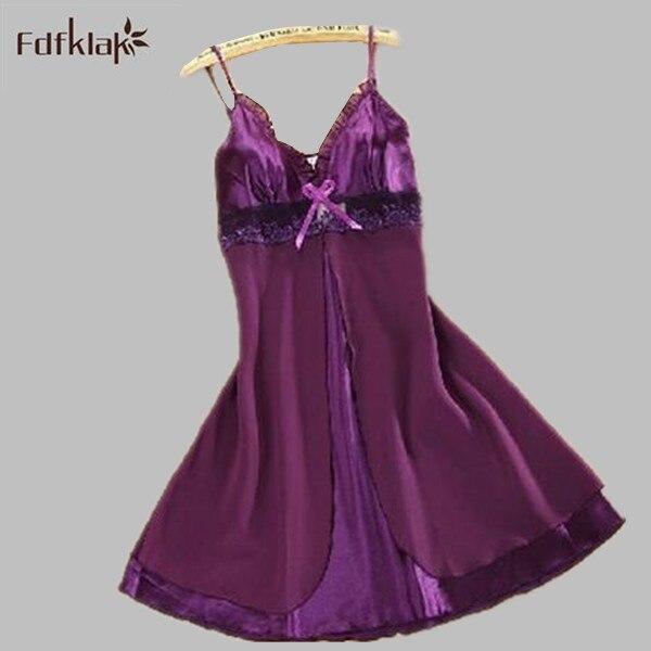 Womens sleepwear camisa de dormir sexy nightdress sleepwear nightgown female night shirts silk underwear home wear S0101