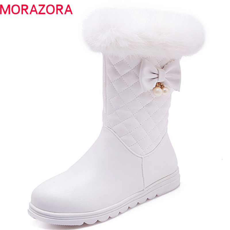 MORAZORA 2018 pink new arrival ankle boots women round sweet bowknot platform shoes ladies winter snow boots waterproof MORAZORA 2018 pink new arrival ankle boots women round sweet bowknot platform shoes ladies winter snow boots waterproof