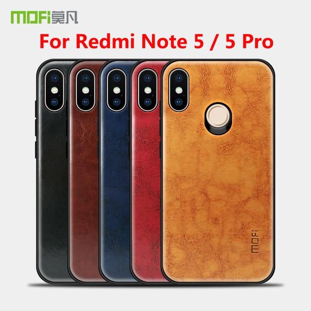 best service 67388 9c64b US $8.59 30% OFF|MOFi Case For Xiaomi Redmi Note 5 Pro PC PU Leather Skin  Cover Protective Phone Back Case sFor Redmi Note5 Pro MOFi Cover Case-in ...