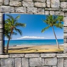 High Quality Canvas Printed 1 Panel Tropics Ocean Coast Hawaii Beach Poster For Modern Living Room Wall Decorative Artwork modern decor wall artwork natural landscape picture 1 piece sea coast tropical paradise beach ocean island boat canvas poster