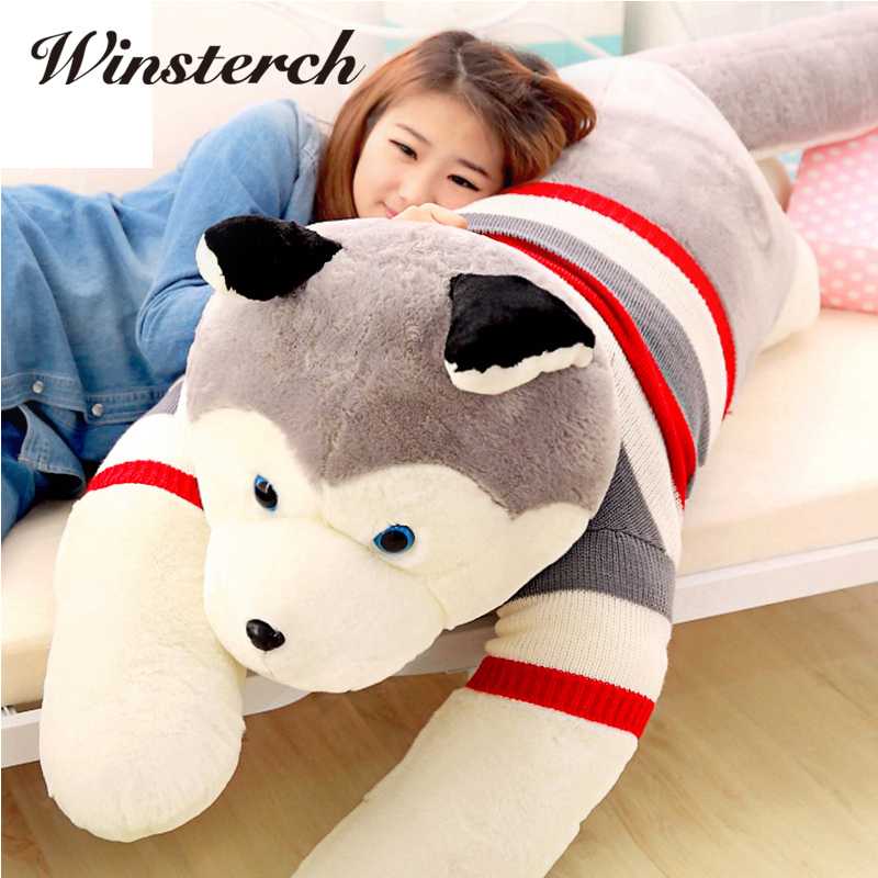 цены на 40/50cm Cute Plush Stuffed Husky Dog Animal Toys Dolls Plush Pillow Cushion Baby Kids Birthday Christmas Gifts WW317