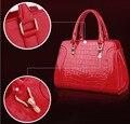 Cocodrilo de oficina de color caramelo-feminina bolsa de mensajero bagwomen bolso de mano de la señora hombro borsa sac bolso femme mujer donna