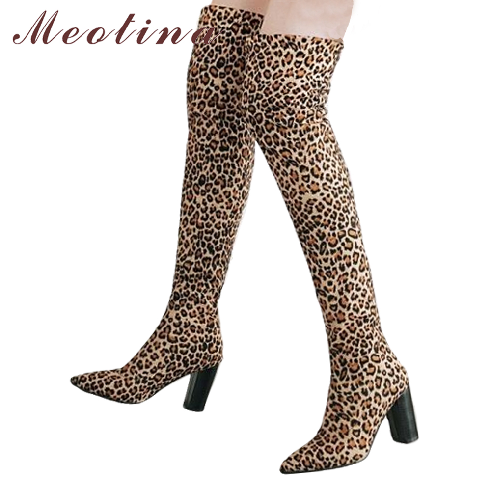cute new style pick up Meotina Thigh High Boots Winter Sexy Leopard Over the Knee Boots ...