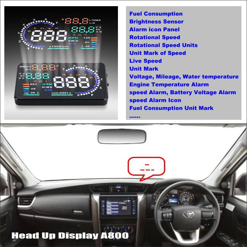 купить Car HUD Head Up Display For TOYOTA Fortuner SW4 Innova 2013 ~ 2015 Refkecting Windshield Screen Safe Driving Screen Projector по цене 3580.07 рублей