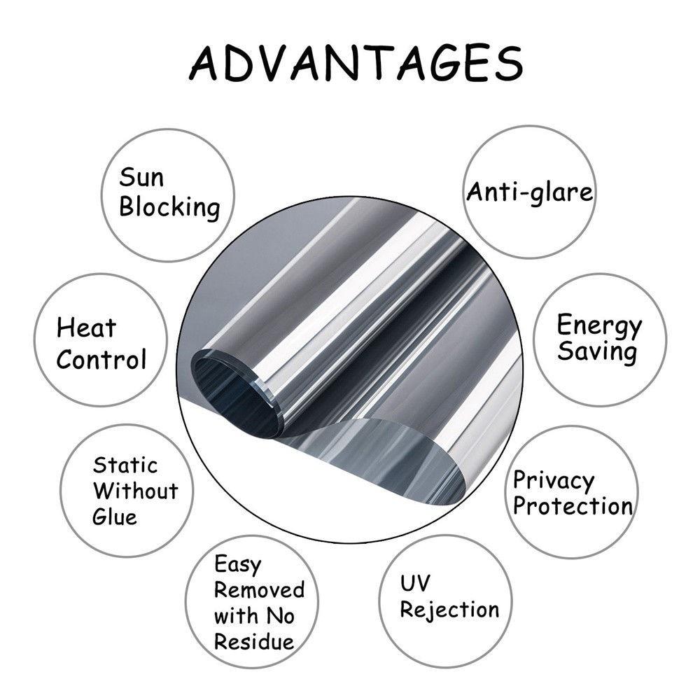 One-way Window Film Silver Glass Self Adhesive Film DIY UV Sun Protection