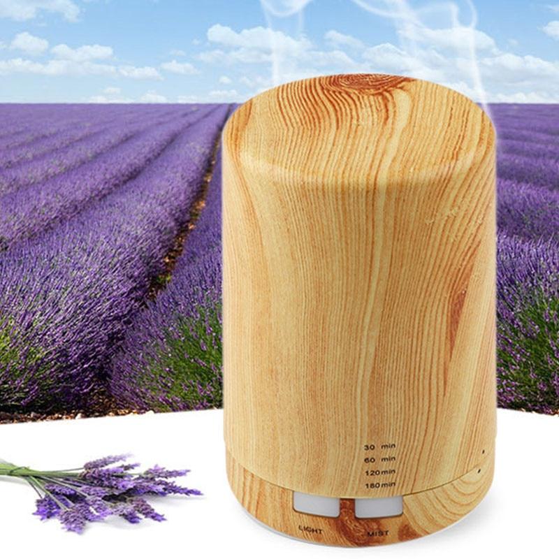 Automatic Aroma Diffuser + Humidifier + Night Light 3-in-1 Ultrasound Mini Silent Wood Grain Aromatherapy Machine Humidifier