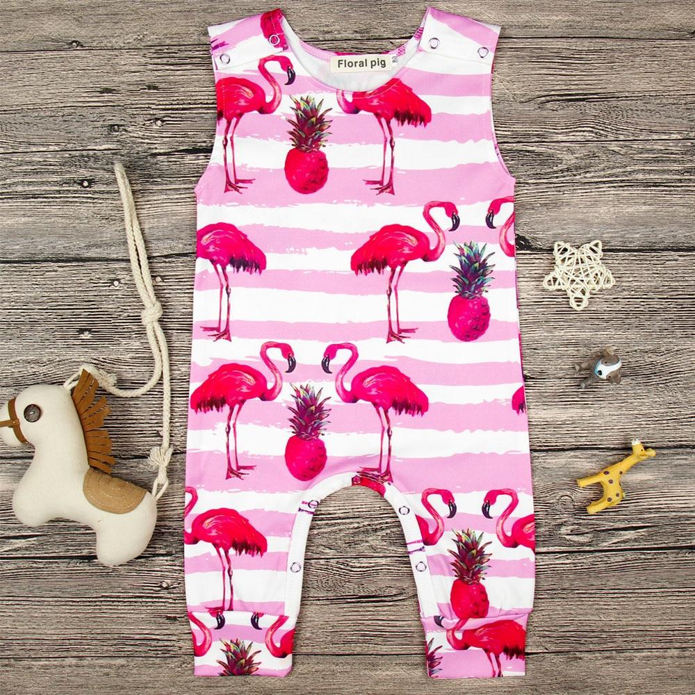 Newborn Sweet Baby  Girls Romper Branch Flamingo Jumpsuit Sunsuit Summer Clothes Outfits for 3M-18M cute newborn baby girl romper 2017 summer ruffles polka dot princess kids jumpsuit headband 2pcs outfits sunsuit clothes