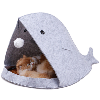 Creative Cute Pet Bed Blue Gray Shark Shape Dog Cage With Hanging Hairball All Season Breathable Cat House Pet Sleeping Supplies 4