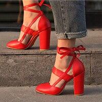 Women Pumps Fashion Heels Shoes Woman Lace Up High Heels Gladiator Women Heels Black Pink Wedding