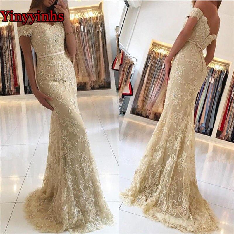 Dos nu Champagne longue robe de soirée chérie hors de l'épaule étage longueur dentelle robe de demoiselle d'honneur sirène robes de bal YY127
