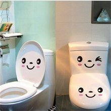 3PCS/SET DIY Smile Face Mural Stikers Toilet Seat Stickers Bathroom Decal Vinyl Mural Home Decor Wall Sticker 20*9.8cm(China)