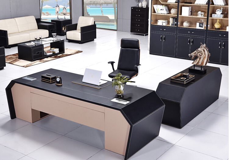 Luxury Executive Office Furniture Table Made By Mdf Board And Pu Leather For