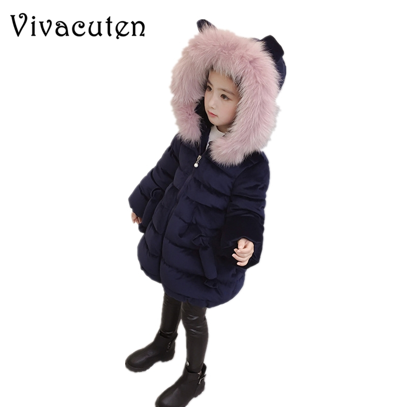 Baby Girls Winter Jacket Kids Gold Velvet Cotton Padded Coat Children Girl Fur Collar Parka Overcoat Teens Girl Costume Clothes new military men s parka homme brand in yeson winter jacket men hood fur collar cotton padded mens winter coat army overcoat
