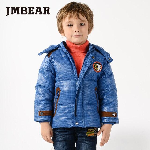 Jmbear chicos chaqueta de invierno del cabrito capa de la manera abajo de color azul y verde poco niños snowsuit outwear con capucha