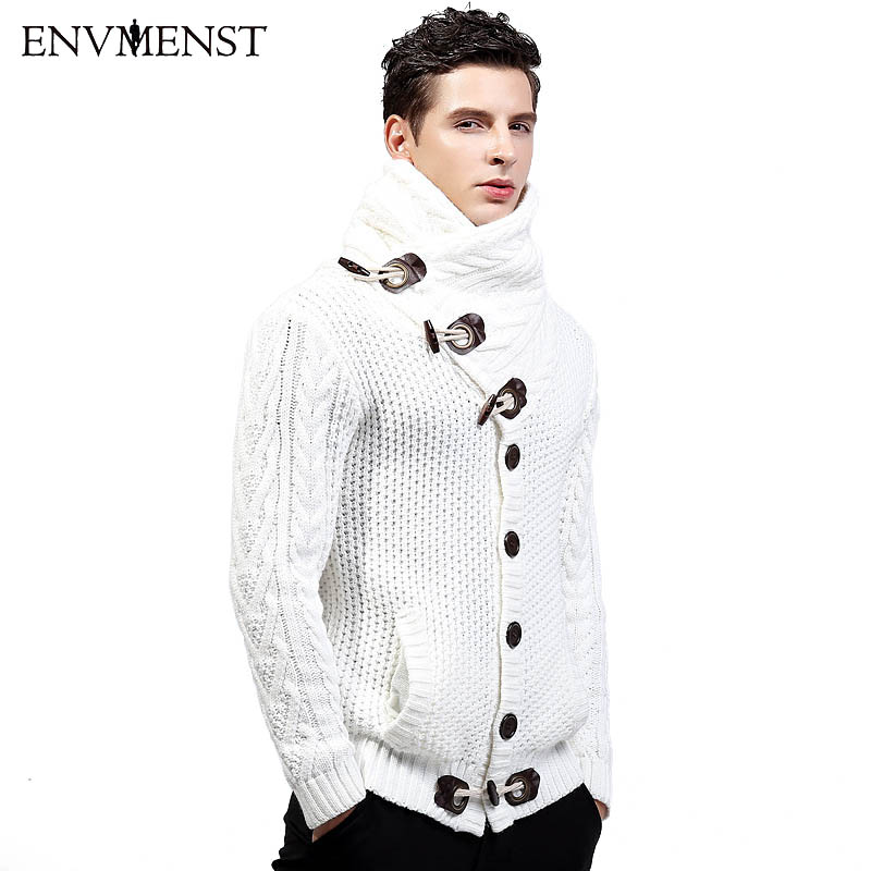 ENV Для мужчин ST 2017 зимние высокие воротник свитера кардигана Для мужчин теплое толстое пальто Свитеры для женщин Мужская Мода и пуговицы Диз...