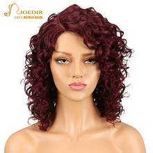Joedir Hair Brazilian High-Volume Curly Remy Hair Human Hair Wigs For Black Women Lace Wigs With Baby Hair Burngundy Red Color
