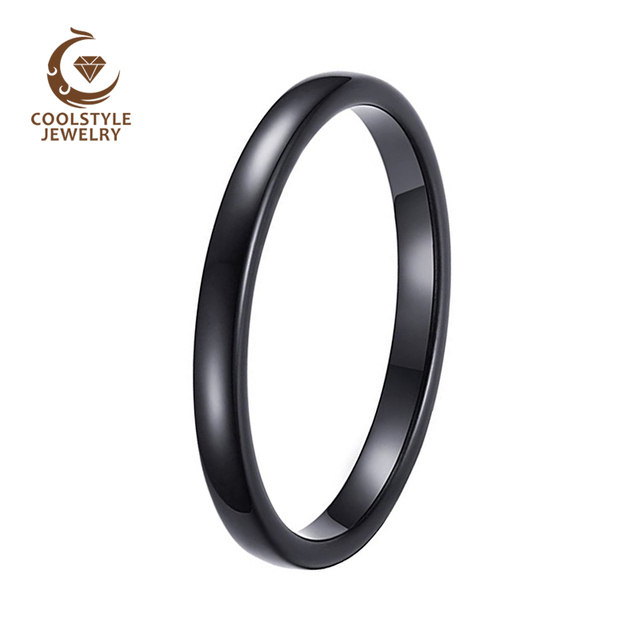 2mm Womens Tungsten Wedding Ring For Las Black Band Engagement Cly Domed