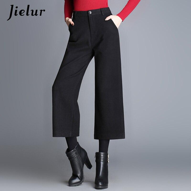 Jielur Plus Size Wide Leg Pants Women Work Wear Ankle-Length Office Lady High Waist Pants Korean Fashion Woolen Pantalon Femme