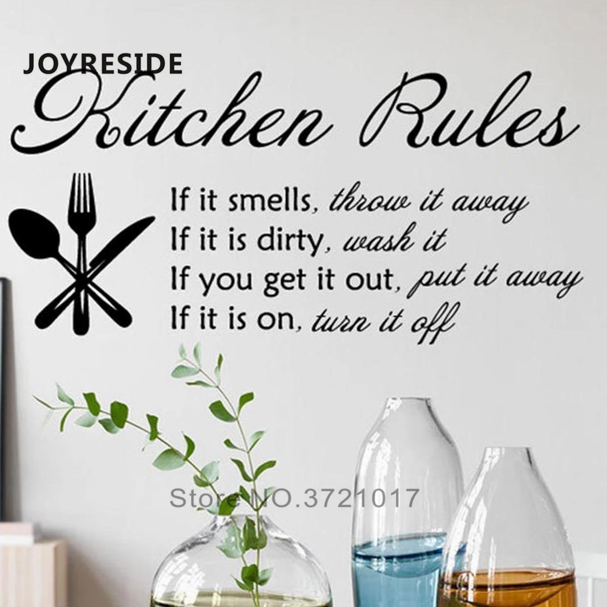 Kitchen Rules Wall Decor Decals Home Sticker House Decoration Murals If Smells Throw It Away Vinyl Design M388 Stickers Aliexpress