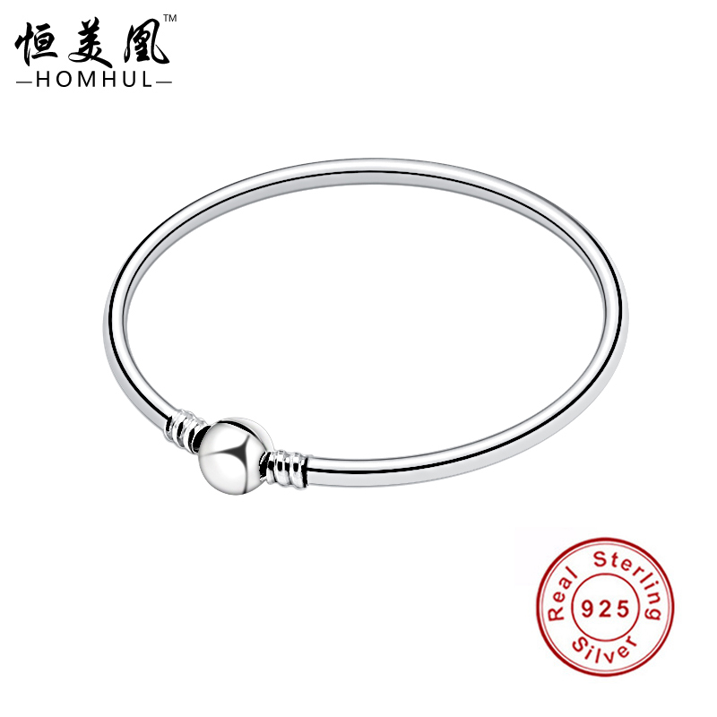 HOMHUL Luxury 925 Sterling Silver Chain Charm Beads Fit Original Bracelet for Women Authentic Jewelry Pulseira