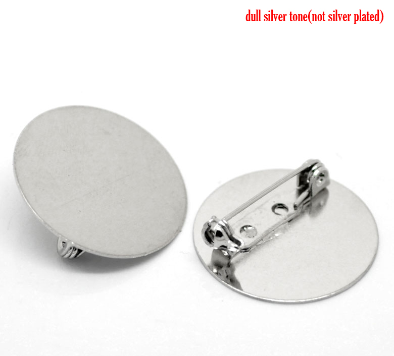 DoreenBeads Zinc Metal Alloy + Alloy Brooches Findings Round Silver Color Cabochon Settings(Fits 25mm)25mm(1