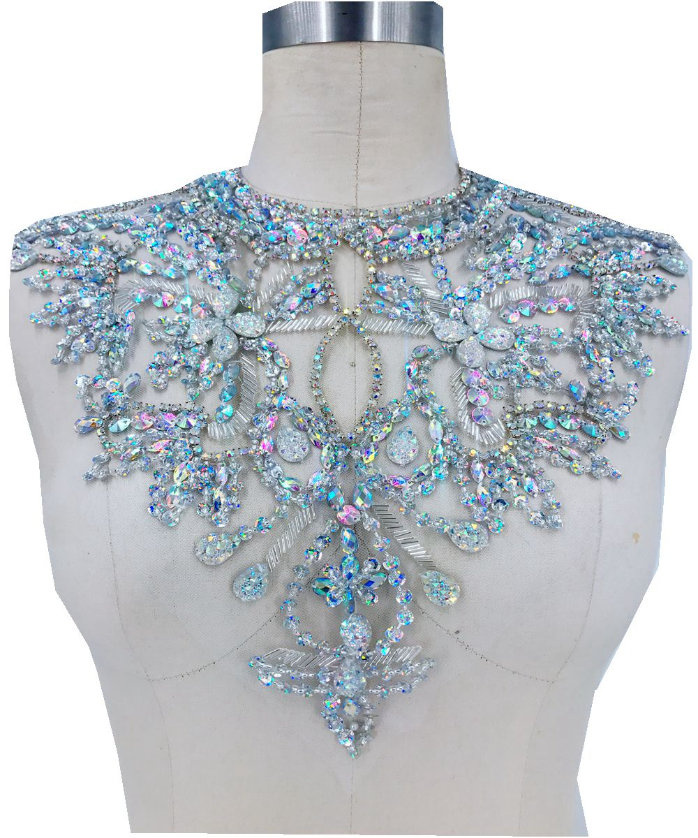 Handmade clear AB colour crystal patches Sequins Rhinestones applique on white mesh 38*32cm for top dress skirt