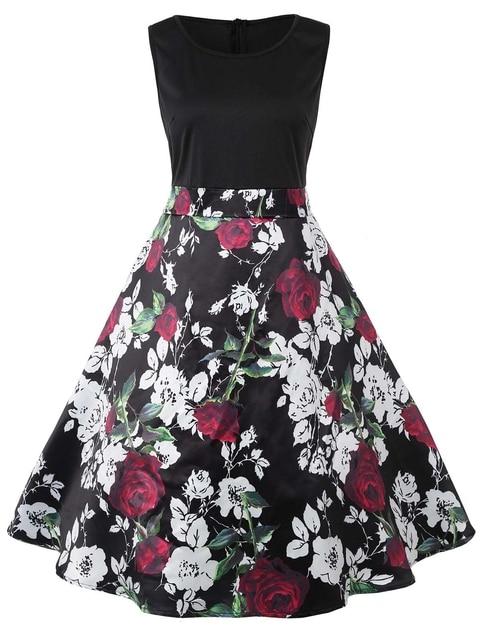 2018 Spring Plus Size 5XL Sleeveless Valentines Day Roses Print ...